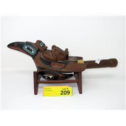 """Vintage Carved Wood Haida Rattle - 5"""" x 5"""" x 13"""""""