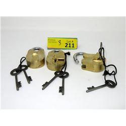 """3 New Heavy 2""""  Brass Pad Locks with Keys"""