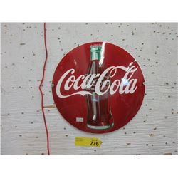 "12"" Coca-Cola Button Sign - Enameled Steel"