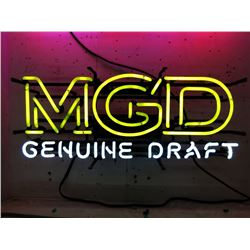 "Vintage Electric Neon ""MGD Genuine Draft"" Sign"