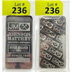 10Oz Johnson Matthey .999 Silver Bar