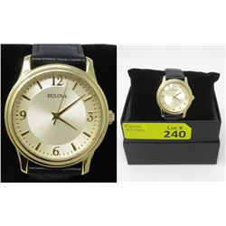 New in Box Mans BulovaGold Tone Dress Watch
