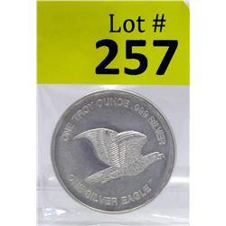 1 Oz Eagle/Scales motif .999 Silver Art Round