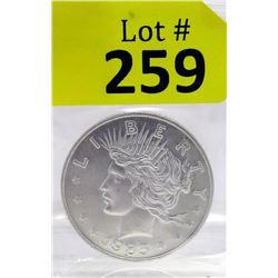 1 OzLady Liberty/Scales Motif.999 Silver Round
