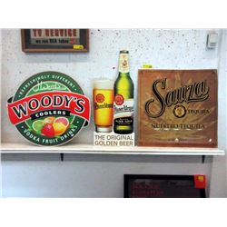 3 Tin Advertising Signs - Souza, Urquell & Woody's