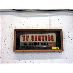 Vintage Wood Framed Glass TV Service Ad