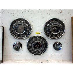 Three 67 Chevy Hubcaps & 2 VW  Center Caps