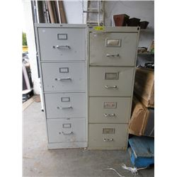 2 Four Drawer Metal File Cabinets -