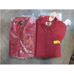 6 Men's New Red Denim Shirts- Variety of Sizes