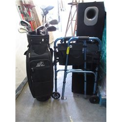 Golf Clubs in Bag and Walker