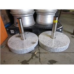 2 Marble Base Umbrella Stands