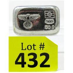 "50 Gram ""Eagle and Swastika"" .999 Tin Bullion Bar"