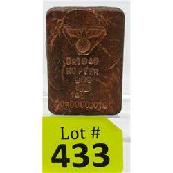 "145 Gram ""Eagle and Swastika"" .999 Copper Bar"