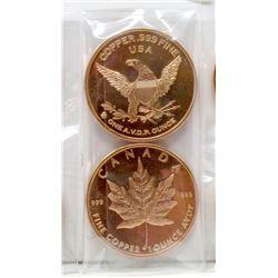 10 One Oz .999 Fine Copper Canada/USA Rounds