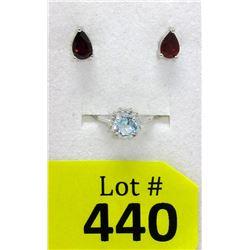 Sterling Silver Blue Topaz Ring & Garnet Earrings