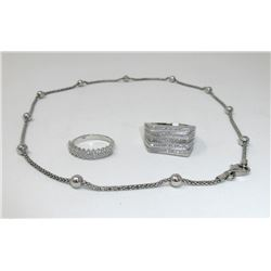 """New 17"""" Sterling Chain & 2 Silver & Crystal Rings"""