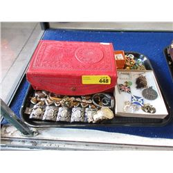 Red Leather Keepsake Box and Contents