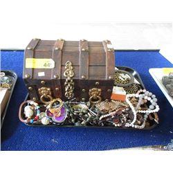 Wood Jewelry Cask & Assorted Fashion Jewelry