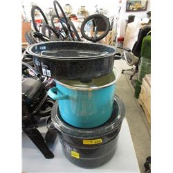 Roaster & 2 Enamel Stock Pots - Store Return