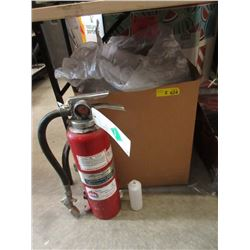 Fire Extinguisher & Large Box of Plastic Bottles