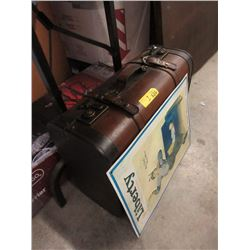 Suitcase Storage Box & Metal Sign