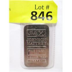 "One Oz. .999 Fine Silver ""Johnson Matthey"" Bar"
