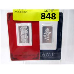 "2 Ten Gram .999 Fine Silver ""PAMP"" Swiss Bars"