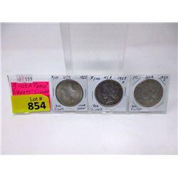 "3 USA 1923  ""Peace Liberty"" .900 Silver Dollars"