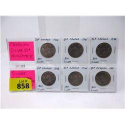 Set of 6 Vintage Canadian .800 Silver Half Dollars