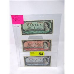 Three 1954 Canadian Bank Notes - $1, $2 and $5