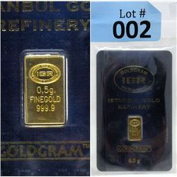1/2 Gram Turkish Mint .9999 Fine Gold Bar