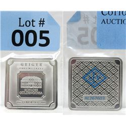 "1 Oz. ""Geiger Edelmetalle"" .999 Fine Silver Bar"
