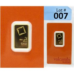 5 Gram Valcambi Swiss Mint .9999 Fine Gold Bar
