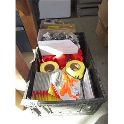 Bin of New Caution Tape, Rubber Leg Caps and more