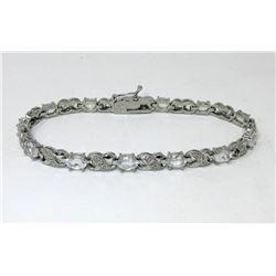 White Topaz & Diamond Figure 8 Bracelet