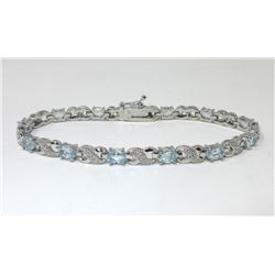 Blue Topaz & Diamond Infinity Bracelet