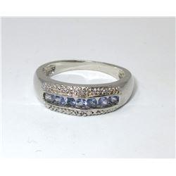 Diamond & Tanzanite Sterling Silver Ring
