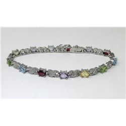 Multi Gemstone & Diamond Tennis Bracelet