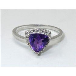 Diamond & Amethyst Sterling Silver Ring