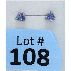 New 1 CT Tanzanite Sterling Silver Stud Earrings