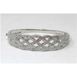 Multi White Diamond Crossover Design Bracelet