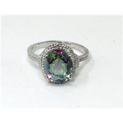 Mystic Topaz & Diamond Solitaire Ring