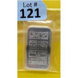 1 Oz. Johnson Matthey .999 Fine Silver Bullion Bar