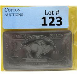 1 Oz. USA Mint .999 Fine Titanium Buffalo Bar