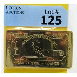 1 Oz. CMC Mint .999 Fine Titanium Gold Clad Bar