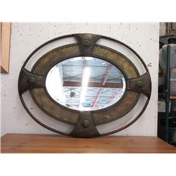Large Arts and Crafts Style Metal Framed Mirror