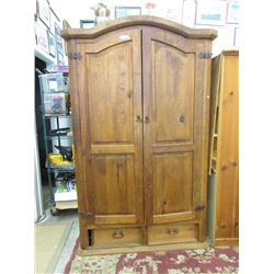 Pine Wood Armoire with Drawers