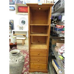 Pine Display Cabinet with Drawers