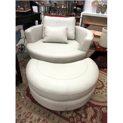 New Stylus Leather Swivel Cuddler Chair & Stool
