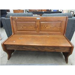 Oak Church Pew Hall Bench with Under Seat Storage